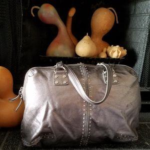 Michael Kors Grey Metallic XL studded Bag